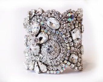 Clear Crystal and Aurora Borealis Swarovski Crystal Cuff Bridal Bracelet