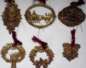 Vintage Brass Christmas Ornaments Set of 8