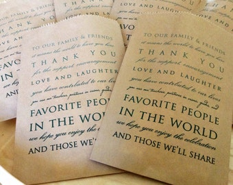Wedding Favor Bags Set of 40 Kraft Paper Bags, Thank You,Party Favor Bags