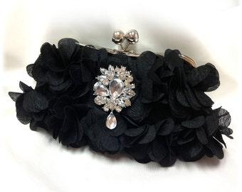 Wedding clutch, formal evening bag,  bridesmaid clutch, vintage inspired clutch, bridesmaid bag, Black ruffle clutch