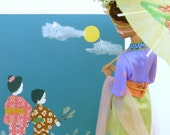 Japanese Paper Art, mother and child