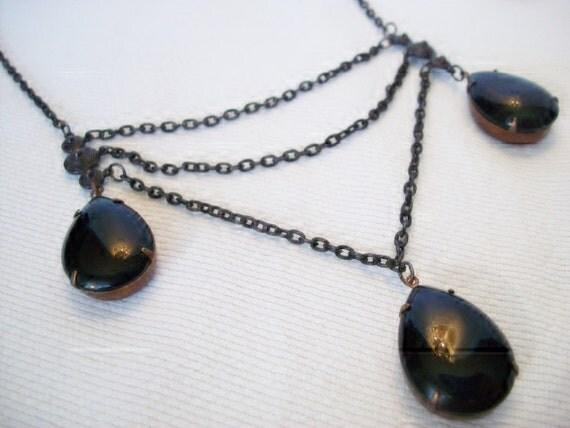 Black Necklace, Dark Romance, Victorian, Necklace Set