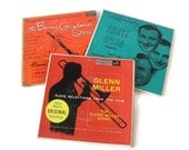 Vintage 45 Record Collection The Benny Goodman Story, The Glenn Miller Story, Three Suns Party