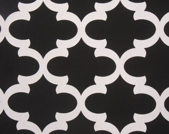 Black and White Fynn Trellis Lattice Curtains, Rod Pocket - 84 96 108 or 120 Long by 24 or 50 Wide