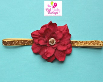 Baby Hairbows - Baby Headband - Infant Headband - Red Infant Headbands - Baby Hair Accessories - Baby Bow Headband - Gold & Red Bows