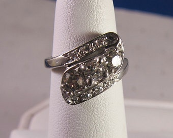 Antique 14k Deco Diamond Engagement Ring Band 3 large diamonds 1 cow