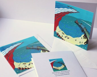 Red Arrows, Bournemouth - Art Greetings Card from an original linocut print