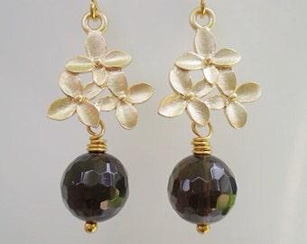 Smoky Quartz Earrings/Dark Smoky Quartz Earrings/Flower Earrings/Dainty Earrings/Cherry Blossom Earrings/Gifts for Her/Brown Earrings