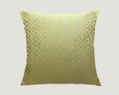 "Decorative Pillow Case, Silver Grey fabric Throw pillow cover with Yellow Geometric patterns, fits 18"" x 18"" insert, Toss pillow case"