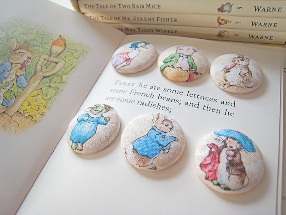 Peter Rabbit Beatrix Potter fabric button fridge magnet set of 6 Benjamin Bunny, Jemima Puddleduck, Tom Kitten, Pigling Bland home gift.