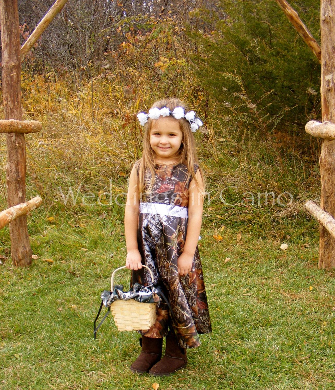 camo flower girl dress in mossy oak satin with ribbon sash
