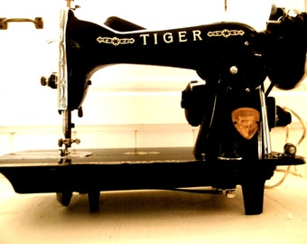 Antique Tiger Portable Electric Sewing Machine