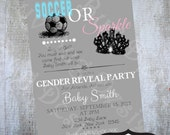 Gender Reveal Party Soccer or Sparkle Baby Shower Invitation Printable Invitations by Luv Bug Design