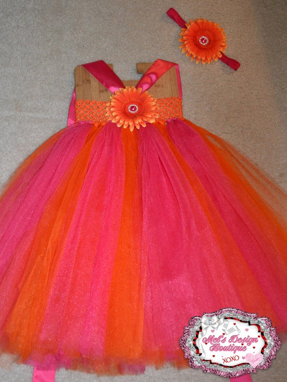 Pink and orange tutu dress with matching headband wedding for Pink and orange wedding dresses