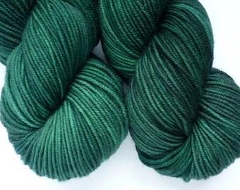 Hand Dyed Superwash Merino Sport Weight Yarn in Emerald Colorway