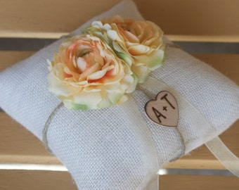 Peach Flower Ring bearer pillow You personalize it 10% discount promo code SPRING entire shop