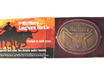 Vintage Marlboro Longhorn Belt Buckle, Brass, New in Package
