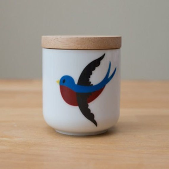 cute swallow bird wooden lid ceramic canister jar