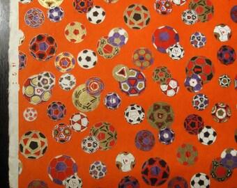 Vintage Japanese Designer Yuzen Chiyogami Paper  -  Orange w/ Soccer Ball / Maru Motif.