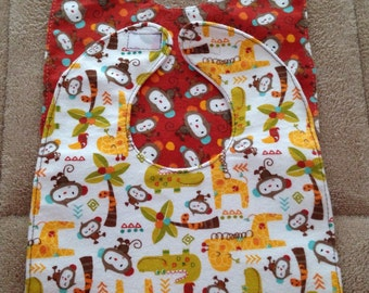 Waterproof Baby Bib Set / Monkey