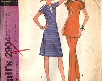 1971 Sewing Pattern McCall's 2904 Misses dress, tunic, pants size 8 bust 31.5