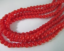 Vintage Pre-Strung 35 Inch Red 4mm Plastic Monet Bead Necklace Strand Bd922
