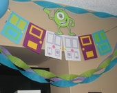 Monsters Inc. birthday party banner, door banner, Monsters University, Boo's door