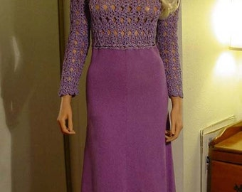 Rare 1970s Mady Gerrard Couture One Of A Kind Hand Knit Maxi Dress