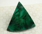 Triangle Button, Huge 45mm, Green Marbled Celluloid, Vintage Button