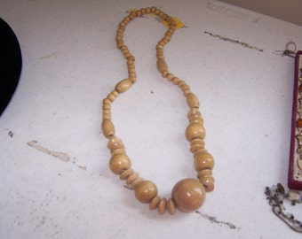 Vintage late 1960's - 70's ALL WOOD beaded Necklace - Odd shapes and sizes - wooden beads - RUNWAY