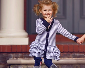Gretchen Ruffled Cardigan PDF Pattern & Tutorial, How to Coat EPattern All sizes 2t-10 years included
