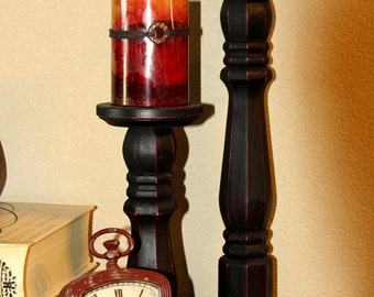 Distressed Wood Pillar Candle holders - Set of two (Tall)