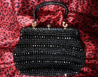 1950's Vintage Straw Woven Beaded Black Handbag