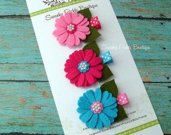 Felt Flower Hair Clips - Daisy Hair Clips - Wool Felt - Pink Turquiose Blue - Polka Dot - Baby Hair Clips - Infant - Toddler - Girls