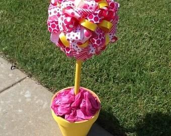 Pinkalicious Inspired Ribbon Topiary - ribbon topiary ribbon decor home decor party decoration birthday party princess cupcake