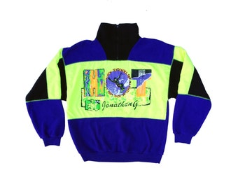 Based 80s Neon Jonathan G by SunSations Fleece Sweater - M / L