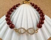 INFINITY Gold Rhinestone & Pearl Bracelet - Swarovski Garnet Crystal Pearls - Inspirational - FSU - Seminoles - Any Size - Made in USA