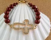 CROSS - Fancy Gold Rhinestone & Pearl Bracelet - Swarovski Garnet Crystal Pearls - FSU - Florida State Seminoles - Any Size - Made in USA