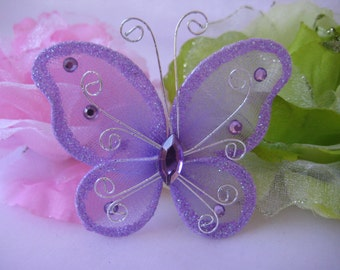 "12 pcs, 3"" Lavender Nylon Butterflies for Wedding Decor, Flower Arrangement, Table Scatters, Baptism Favors, Butterfly Party Favors"