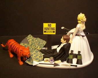 NO HUNTING Wild Tiger with Bow and Arrow  Bride and Groom Wedding Cake Topper Funny Sport