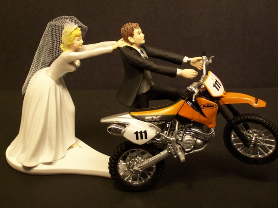 funny motorbike wedding cake topper motorcycle running groom and w diecast orange dirt bike 14558