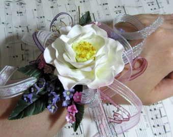 White Camellia Wrist Corsage with Lace - Handmade with Clay