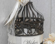 READY TO SHIP / Small Wedding Birdcage Wishing Well / Wedding Wishes Well / Home Decor