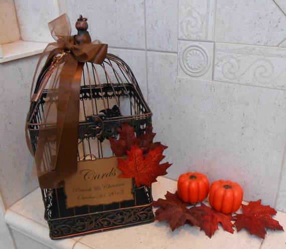 Fall Wedding Card Holder Ideas: Fall Leaves Wedding Birdcage Card Holder / Fall By ThoseDays