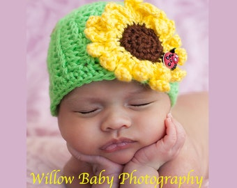 READY TO SHIP Baby Girl Hat - Baby Hat  - Too Cute Sunflower Hat with Lady Bug Button  - Very Soft