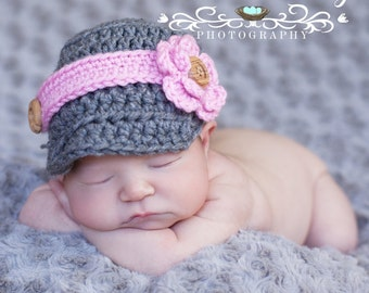 Baby Girl Hat - Baby Hat - Fun Grey Baby Hat with Visor and Pink Band and Flower - Other Colors Available