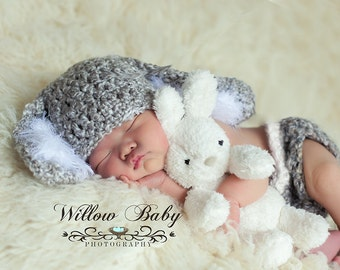 READY  Baby Bunny Hat & Diaper Cover Grey and White, Floppy Ears and Fuzzy Trim and big Fluffy Tail