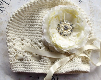 Baby Girl Ivory Crochet Flower Hat,crochet beanie -ivory  peony- Fits infants to toddlers - Baby shower