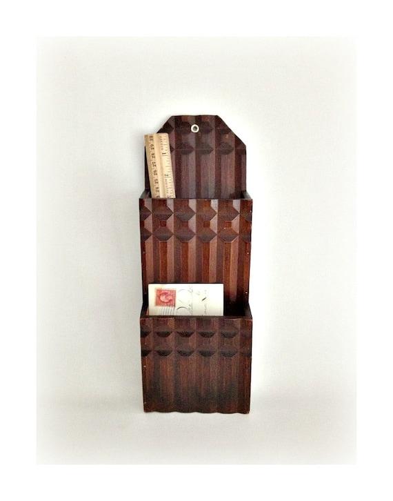 Vintage Wooden Mail Holder Wall Rack Organizer