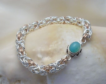 Blue Chrysocolla Clasp on Argentium and Rose Gold-filled Chainmaille - Handmade OOAK